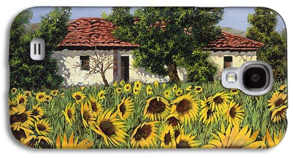 Sunflower Paintings Galaxy S4 Cases - Tanti Girasoli Davanti Galaxy S4 Case by Guido Borelli