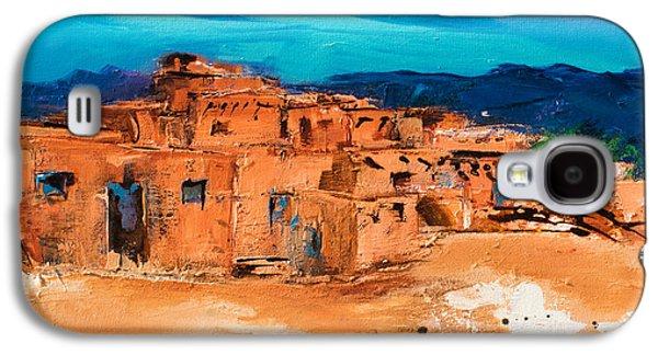 Taos Galaxy S4 Cases - Taos Pueblo Village Galaxy S4 Case by Elise Palmigiani