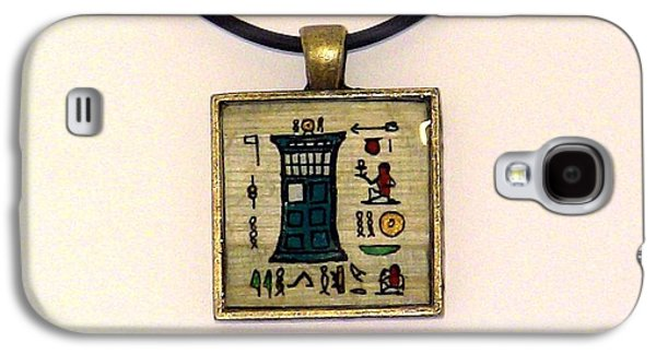 Science Fiction Jewelry Galaxy S4 Cases - TARDIS Faux Artifact Miniature Painting on Papyrus Mounted in Pendant Galaxy S4 Case by Pet Serrano