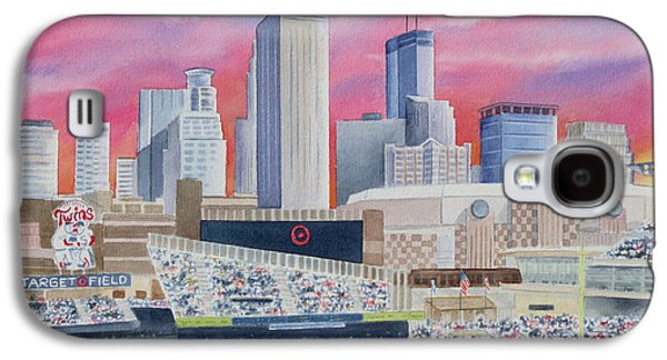 Baseball Stadiums Paintings Galaxy S4 Cases - Target Field Galaxy S4 Case by Deborah Ronglien