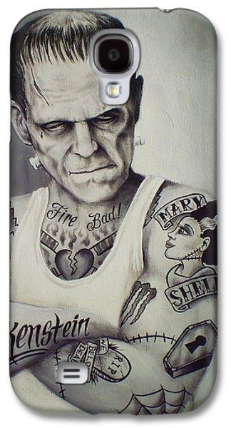 Hammer Paintings Galaxy S4 Cases - Tattooed Frankenstein by Mike Vanderhoof Galaxy S4 Case by Mike Vanderhoof