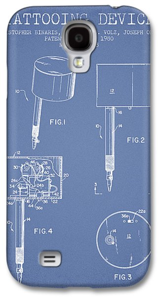 Tattoo Digital Art Galaxy S4 Cases - Tattooing Device Patent From 1980 - Light Blue Galaxy S4 Case by Aged Pixel