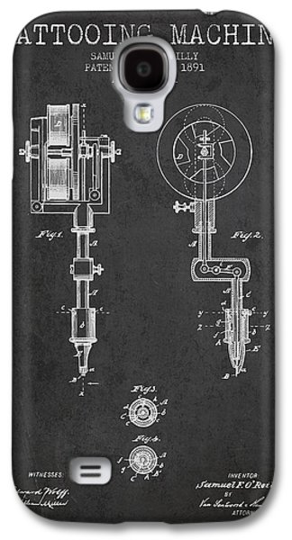 Tattoo Digital Art Galaxy S4 Cases - Tattooing Machine Patent from 1891 - Charcoal Galaxy S4 Case by Aged Pixel