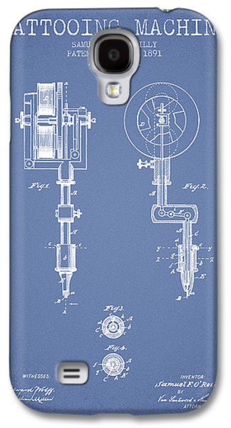 Tattoo Digital Art Galaxy S4 Cases - Tattooing Machine Patent from 1891 - Light Blue Galaxy S4 Case by Aged Pixel