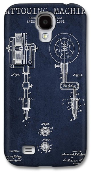 Tattoo Digital Art Galaxy S4 Cases - Tattooing Machine Patent from 1891 - Navy Blue Galaxy S4 Case by Aged Pixel