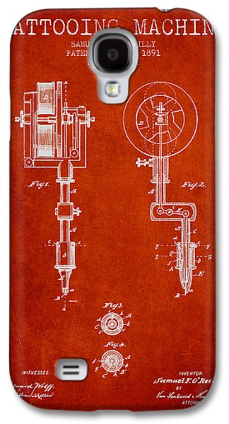Tattoo Galaxy S4 Cases - Tattooing Machine Patent from 1891 - Red Galaxy S4 Case by Aged Pixel