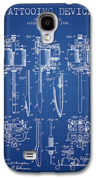 Tattoo Digital Art Galaxy S4 Cases - Tattooing Machine Patent From 1904 - Blueprint Galaxy S4 Case by Aged Pixel