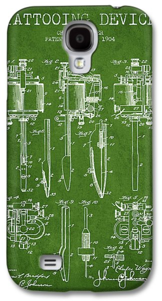 Tattoo Digital Art Galaxy S4 Cases - Tattooing Machine Patent From 1904 - Green Galaxy S4 Case by Aged Pixel