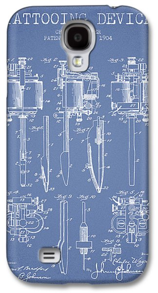 Tattoo Digital Art Galaxy S4 Cases - Tattooing Machine Patent From 1904 - Light Blue Galaxy S4 Case by Aged Pixel