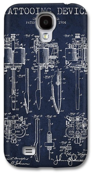 Tattoo Digital Art Galaxy S4 Cases - Tattooing Machine Patent From 1904 - Navy Blue Galaxy S4 Case by Aged Pixel