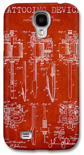Tattoo Digital Art Galaxy S4 Cases - Tattooing Machine Patent From 1904 - Red Galaxy S4 Case by Aged Pixel