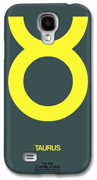 Virgo Galaxy S4 Cases - Taurus Zodiac Sign Yellow Galaxy S4 Case by Naxart Studio
