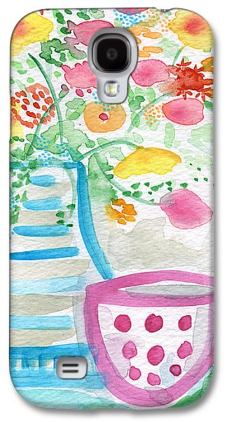 Still Life Mixed Media Galaxy S4 Cases - Tea and Fresh Flowers- whimsical floral painting Galaxy S4 Case by Linda Woods