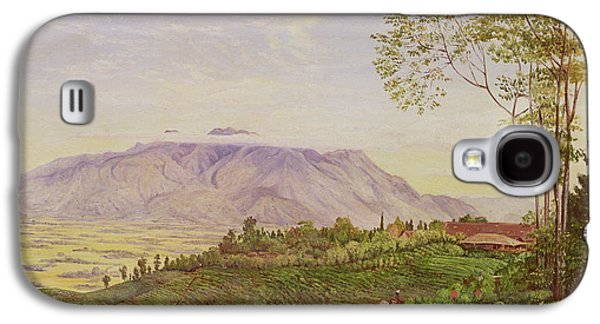 Mountainous Paintings Galaxy S4 Cases - Tea Gathering in Java Galaxy S4 Case by Marianne North