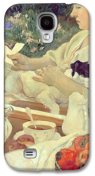 Sleeping Dog Galaxy S4 Cases - Tea in the Garden Galaxy S4 Case by Leon Georges Carre