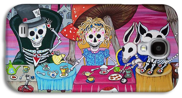 Mad Hatter Paintings Galaxy S4 Cases - Tea Party Day of the Dead Alice in Wonderland Galaxy S4 Case by Julie Ellison