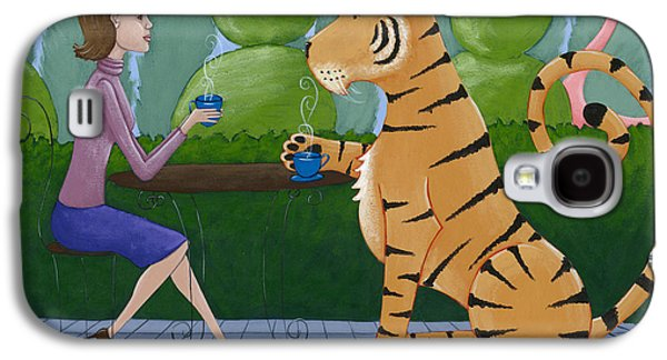 Purple Drawings Galaxy S4 Cases - Tea with a Tiger Galaxy S4 Case by Christy Beckwith