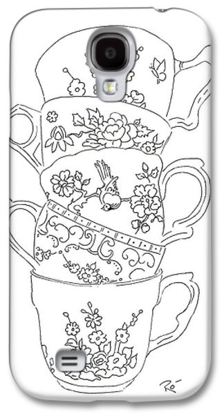 Interior Still Life Drawings Galaxy S4 Cases - Teacup Tremble Galaxy S4 Case by Roisin O Farrell
