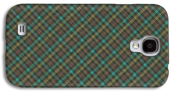 Diagonal Galaxy S4 Cases - Teal And Green Diagonal Plaid Pattern Fabric Background Galaxy S4 Case by Keith Webber Jr