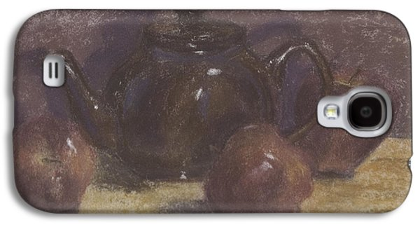 Interior Still Life Pastels Galaxy S4 Cases - Teapot and Apples Galaxy S4 Case by Claudia Cox