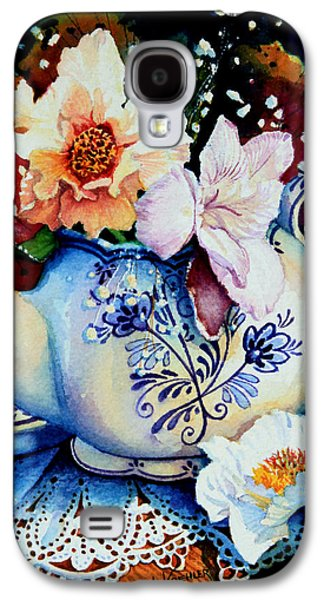 Lore Galaxy S4 Cases - Teapot Posies And Lace Galaxy S4 Case by Hanne Lore Koehler