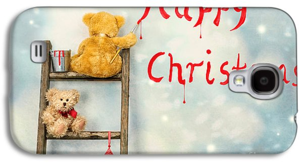 Snow Scene Galaxy S4 Cases - Teddy Bears At Christmas Galaxy S4 Case by Amanda And Christopher Elwell