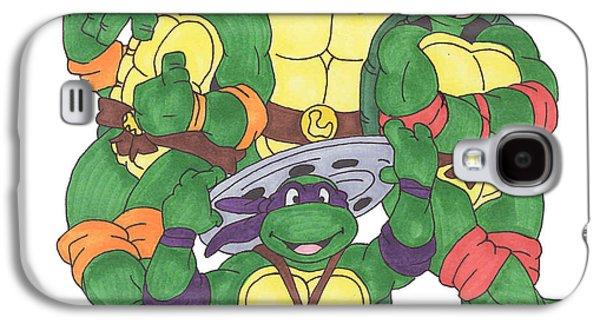Reptiles Drawings Galaxy S4 Cases - Teenage mutant ninja turtles  Galaxy S4 Case by Yael Rosen
