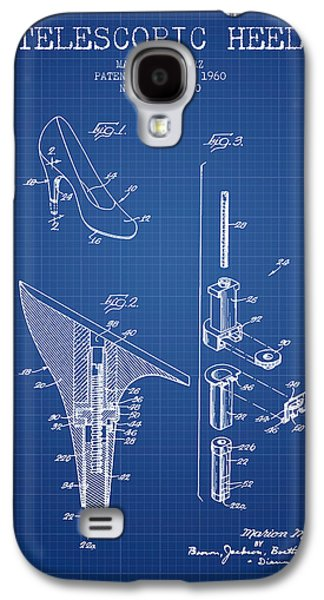 Shoe Digital Art Galaxy S4 Cases - Telescopic Heel Patent from 1960 - Blueprint Galaxy S4 Case by Aged Pixel