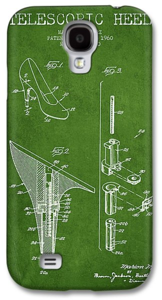 Shoe Digital Art Galaxy S4 Cases - Telescopic Heel Patent from 1960 - Green Galaxy S4 Case by Aged Pixel