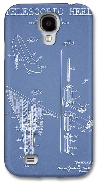 Shoe Digital Art Galaxy S4 Cases - Telescopic Heel Patent from 1960 - Light Blue Galaxy S4 Case by Aged Pixel