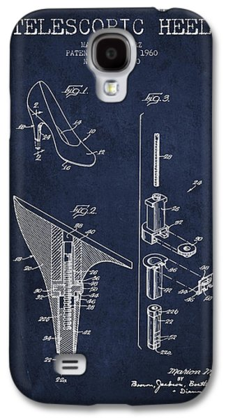 Shoe Digital Art Galaxy S4 Cases - Telescopic Heel Patent from 1960 - Navy Blue Galaxy S4 Case by Aged Pixel
