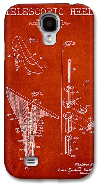 Shoe Digital Art Galaxy S4 Cases - Telescopic Heel Patent from 1960 - Red Galaxy S4 Case by Aged Pixel