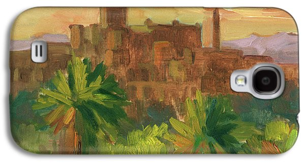 Temple Paintings Galaxy S4 Cases - Telouet Kasbah Galaxy S4 Case by Diane McClary