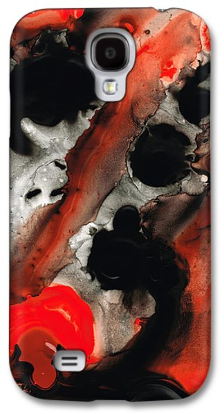Abstracts Galaxy S4 Cases - Tempest - Red And Black Painting Galaxy S4 Case by Sharon Cummings