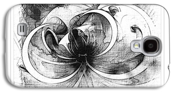 Floral Digital Art Digital Art Galaxy S4 Cases - Tendrils in pencil 01 Galaxy S4 Case by Amanda Moore