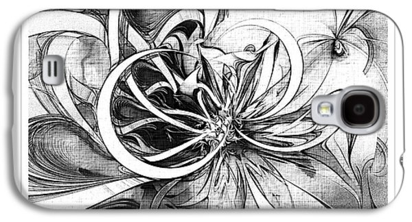 Floral Digital Art Digital Art Galaxy S4 Cases - Tendrils in pencil 02 Galaxy S4 Case by Amanda Moore