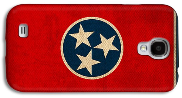 Nashville Galaxy S4 Cases - Tennessee State Flag Art on Worn Canvas Galaxy S4 Case by Design Turnpike