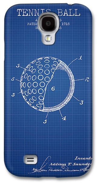 Tennis Player Galaxy S4 Cases - Tennis Ball Patent from 1918 - Blueprint Galaxy S4 Case by Aged Pixel