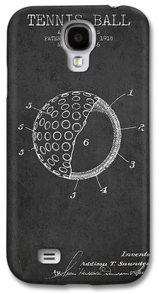 Tennis Player Galaxy S4 Cases - Tennis Ball Patent from 1918 - Charcoal Galaxy S4 Case by Aged Pixel