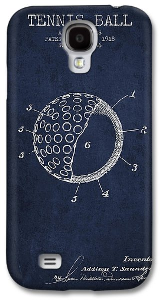 Tennis Player Galaxy S4 Cases - Tennis Ball Patent from 1918 - Navy Blue Galaxy S4 Case by Aged Pixel