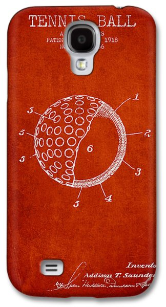 Tennis Player Galaxy S4 Cases - Tennis Ball Patent from 1918 - Red Galaxy S4 Case by Aged Pixel