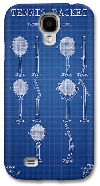Tennis Player Galaxy S4 Cases - Tennis Racket Patent from 1886 - Blueprint Galaxy S4 Case by Aged Pixel