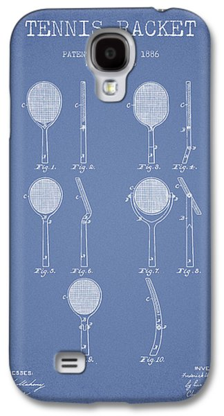 Tennis Player Galaxy S4 Cases - Tennis Racket Patent from 1886 - Light Blue Galaxy S4 Case by Aged Pixel