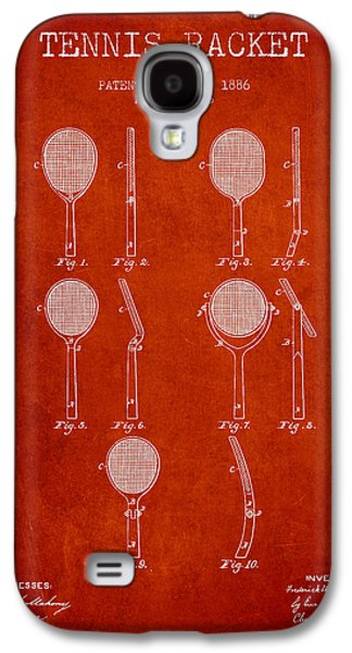 Tennis Player Galaxy S4 Cases - Tennis Racket Patent from 1886 - Red Galaxy S4 Case by Aged Pixel