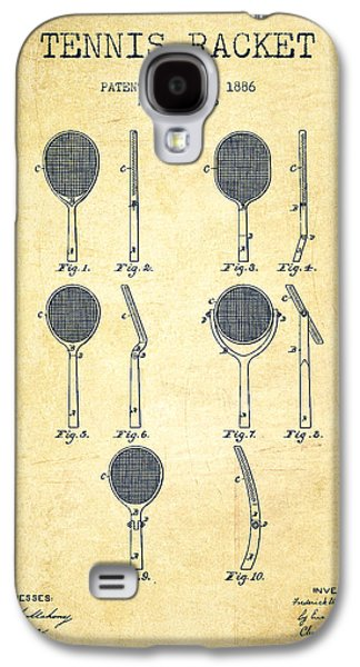 Tennis Player Galaxy S4 Cases - Tennis Racket Patent from 1886 - Vintage Galaxy S4 Case by Aged Pixel