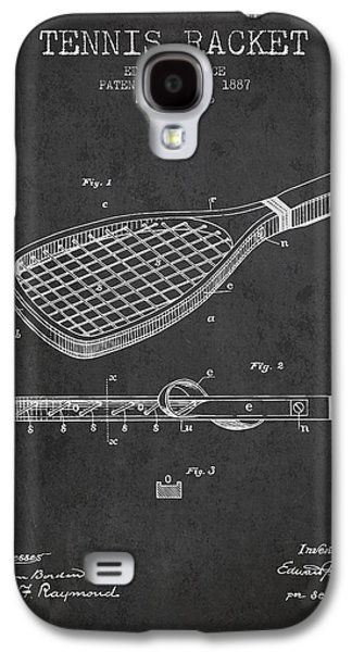 Tennis Player Galaxy S4 Cases - Tennis Racket Patent from 1887 - Charcoal Galaxy S4 Case by Aged Pixel