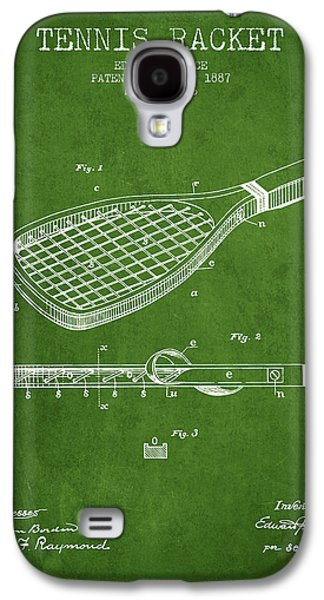 Tennis Player Galaxy S4 Cases - Tennis Racket Patent from 1887 - Green Galaxy S4 Case by Aged Pixel