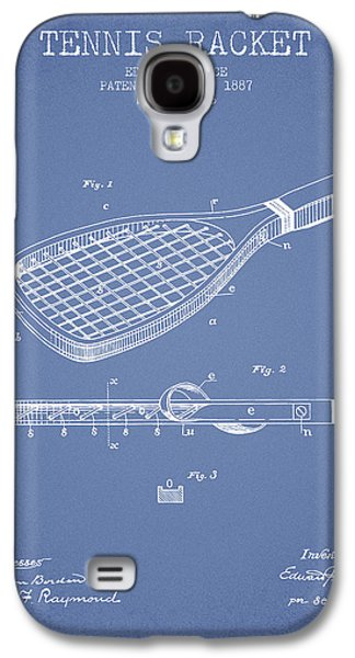 Tennis Player Galaxy S4 Cases - Tennis Racket Patent from 1887 - Light Blue Galaxy S4 Case by Aged Pixel