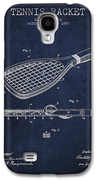 Tennis Player Galaxy S4 Cases - Tennis Racket Patent from 1887 - Navy Blue Galaxy S4 Case by Aged Pixel