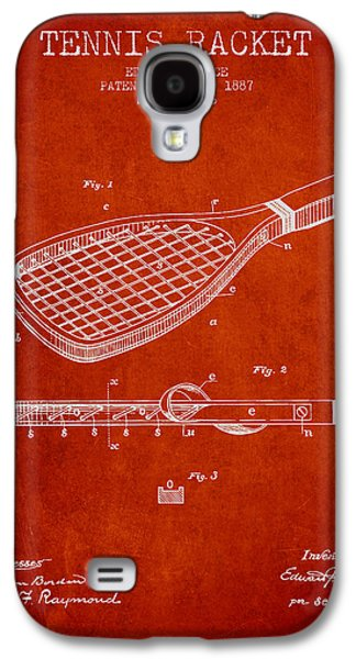 Tennis Player Galaxy S4 Cases - Tennis Racket Patent from 1887 - Red Galaxy S4 Case by Aged Pixel